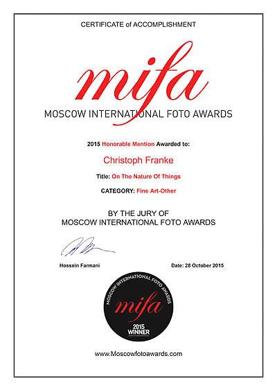 MIFA 2015 winners Certificate for Christoph Franke